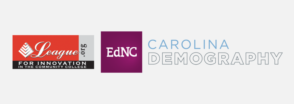 Wordmarks for collaborative partners that include the League for Innovation in Community College, EdNC, and Carolina Demography.